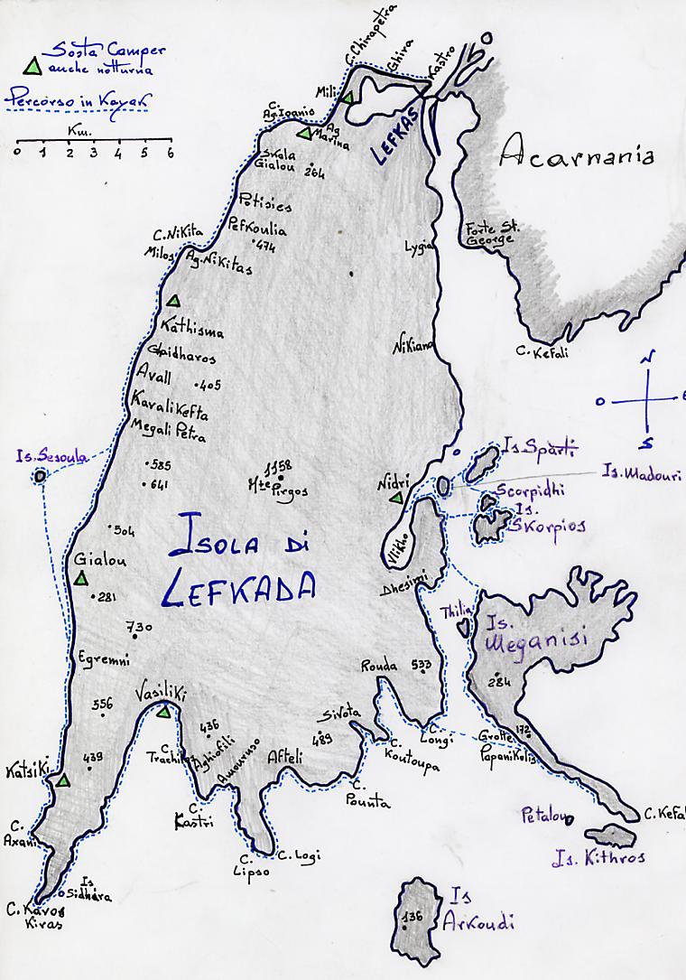 Mappa delle spiagge di Lefkada
