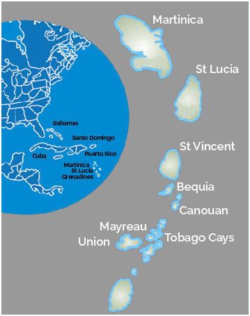 Mappa isole Grenadine